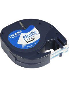 Dymo tape plast, L: 4 m, B: 12 mm, hvit, 4 m/ 1 rl.
