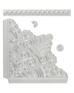 Skjære- og pregesjablong, dekorative hjørner, str. 14,5x1,5 cm, 1 stk.