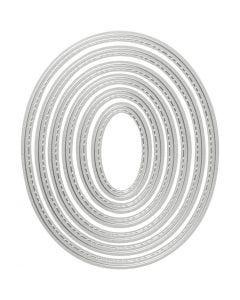 Skjære- og pregesjablong, oval, str. 5x3-12x10 cm, 1 stk.