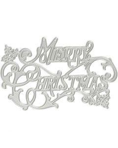Skjære- og pregesjablong, Merry Christmas, dia. 11,5x7,2 cm, 1 stk.