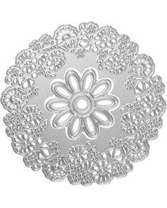 Skjære- og pregesjablong, blomst, dia. 10,5 cm, 1 stk.