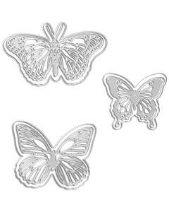 Skjæresjablong, sommerfugl, str. 5x4,5+6,5x5+8x4,5 cm, 1 stk.