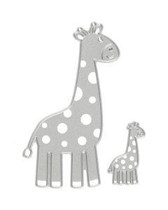 Skjære- og pregesjablong, giraff, str. 54x92+21x35 mm, 1 stk.