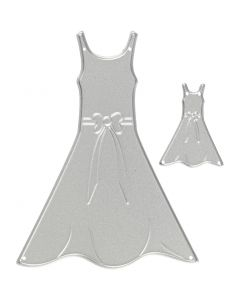 Skjæresjablong, kjoler, str. 27x35+26x90 mm, 1 stk.