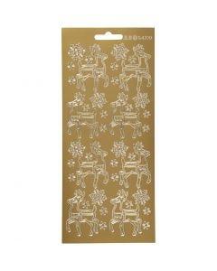 Stickers, rådyr, 10x23 cm, gull, 1 ark