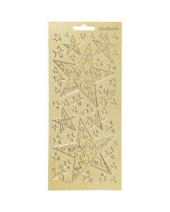 Stickers, stjerner, 10x23 cm, gull, 1 ark