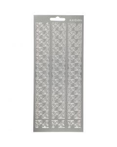 Stickers, hjørner, 10x23 cm, sølv, 1 ark