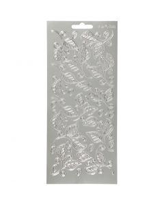 Stickers, blad, 10x23 cm, sølv, 1 ark