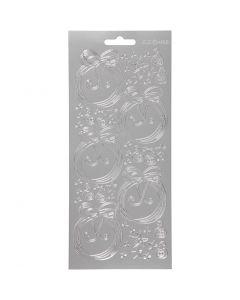 Stickers, julekuler, 10x23 cm, sølv, 1 ark