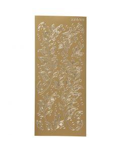 Stickers, blad, 10x23 cm, gull, 1 ark