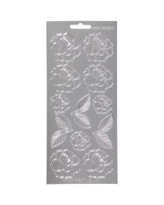 Stickers, roser, 10x23 cm, sølv, 1 ark