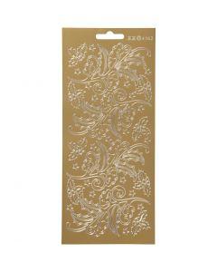 Stickers, kristtorn, 10x23 cm, gull, 1 ark