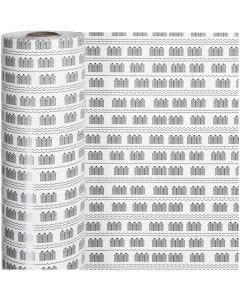 Gavepapir, badehus, B: 57 cm, 80 g, svart, hvit, 150 m/ 1 rl.