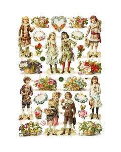Glansbilder, barn og blomster, 16,5x23,5 cm, 3 ark/ 1 pk.