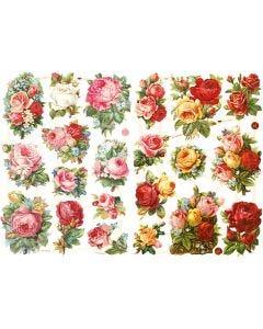 Glansbilder, rosemiks, 16,5x23,5 cm, 2 ark/ 1 pk.