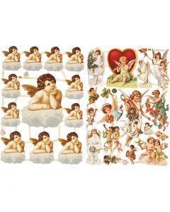 Glansbilder, store og små engler, 16,5x23,5 cm, 2 ark/ 1 pk.