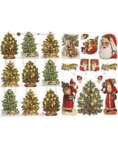 Glansbilder, julenisser og juletrær, 16,5x23,5 cm, 2 ark/ 1 pk.