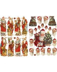 Glansbilder, Julenisse med gaver, 16,5x23,5 cm, 2 ark/ 1 pk.