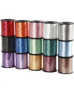 Gavebånd , B: 10 mm, blank, ass. farger, 15x50 m/ 1 pk.
