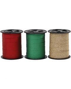 Gavebånd, B: 10 mm, glitter, gull, grønn, rød, 3x15 m/ 1 pk.