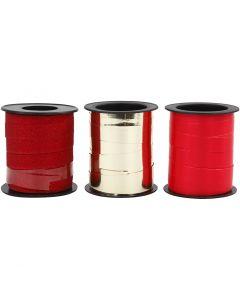 Gavebånd, gull, rød, rød glitter, 3x15 m/ 1 pk.