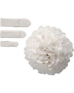 Papirpomponer, dia. 20+24+30 cm, 16 g, hvit, 3 stk./ 1 pk.