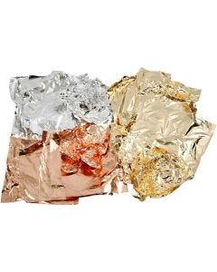 Bladmetall, 16x16 cm, kobber, gull, sølv, 3x50 ark/ 1 pk.