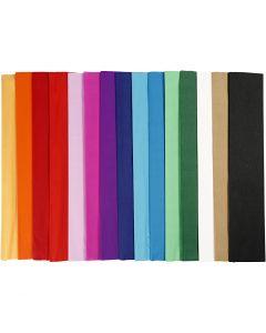kreppapir, L: 2,5 m, B: 50 cm, 22 g, ass. farger, 60 legg/ 1 pk.