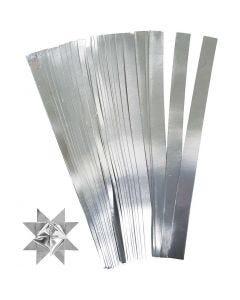 Stjernestrimler, L: 45 cm, dia. 6,5 cm, B: 15 mm, sølv, 100 strimler/ 1 pk.