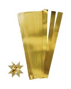 Stjernestrimler, L: 45 cm, dia. 6,5 cm, B: 15 mm, gull, 100 strimler/ 1 pk.