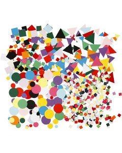 Kartongmosaikk, str. 10+15+20 mm, ass. farger, 8x180 g/ 1 pk.