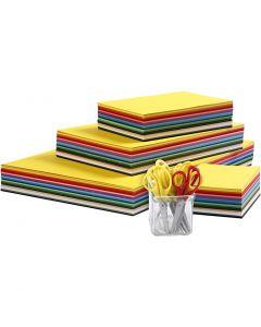Creativ Kartong og barnesakser, A3,A4,A5,A6, 180 g, ass. farger, 1 sett