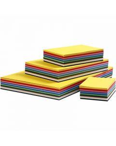 Creativ kartong, A2,A3,A4,A5,A6, 180 g, ass. farger, 1800 ass. ark/ 1 pk.