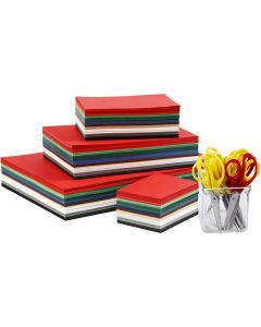 Julekartong, A3,A4,A5,A6, 180 g, ass. farger, 1 sett