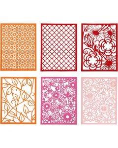 Blondekartong i blokk, A6, 104x146 mm, 200 g, orange, pink, rød, rosa, 24 stk./ 1 pk.