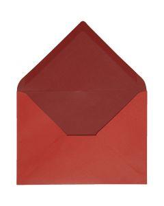 Konvolutt, konvolutt str. 11,5x16 cm, 100 g, rød/vinrød, 10 stk./ 1 pk.