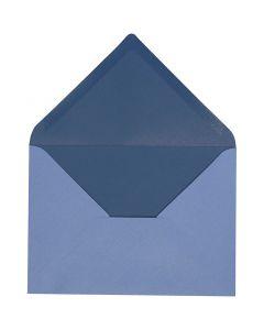 Konvolutt, konvolutt str. 11,5x16 cm, 100 g, lys blå/mørk blå, 10 stk./ 1 pk.
