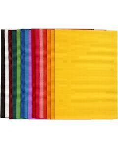 Bølgepapp, 25x35 cm, 80 g, 15 ass. ark/ 1 pk.