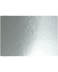 Metallkartong, A4, 210x297 mm, 280 g, sølv, 10 ark/ 1 pk.