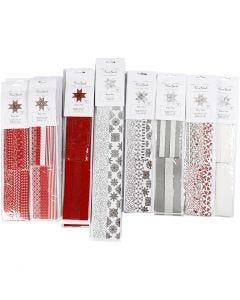 Stjernestrimler, L: 45+86+100 cm, dia. 6,5+11,5+18 cm, B: 15+25+40 mm, svart, rød, sølv, hvit, 18 pk./ 1 pk.