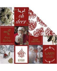 Designpapir, julemotiver og kjegler, 180 g, gull, rød, 3 ark/ 1 pk.