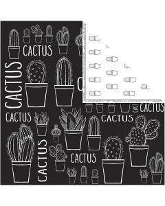 Designpapir, kaktus, 180 g, 5 ark/ 1 pk.
