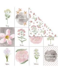 Designpapir, blomster, 30,5x30,5 cm, 180 g, 5 ark/ 1 pk.
