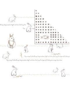 Designpapir, kaniner, 30,5x30,5 cm, 180 g, 5 ark/ 1 pk.