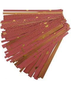 Stjernestrimler, L: 44+78 cm, dia. 6,5+11,5 cm, B: 15+25 mm, gull, rød, 48 strimler/ 1 pk.