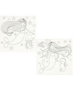 Malelerret med print, havfrue, str. 20x20 cm, 280 g, hvit, 2 stk./ 1 pk.