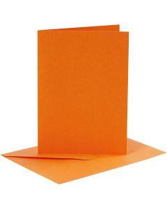 Kort og konvolutter, kort str. 10,5x15 cm, konvolutt str. 11,5x16,5 cm, orange, 6 sett/ 1 pk.