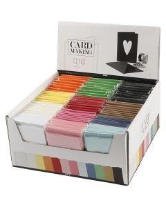 Kort og konvolutter, kort str. 10,5x15 cm, konvolutt str. 11,5x16,5 cm, ass. farger, 120 sett/ 1 pk.