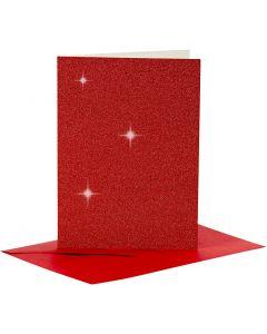 Kort og konvolutter, kort str. 10,5x15 cm, konvolutt str. 11,5x16,5 cm, glitter, rød, 4 sett/ 1 pk.