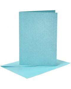 Kort og konvolutter, kort str. 10,5x15 cm, konvolutt str. 11,5x16,5 cm, perlemor, blå, 4 sett/ 1 pk.